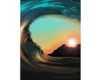 Wave to the Sun, Art Print, Home Decor