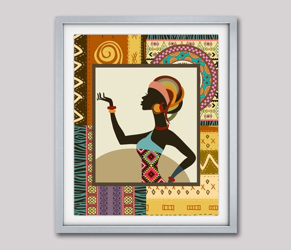 Afrocentric Woman,African Woman Painting, African Art Print, African Ethnic Traditional Pattern Design, Afrocentric Decor