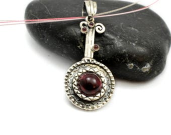 Sterling silver garnet pendant,round red garnet necklace rustic disc oxidized silver pendant gift for her