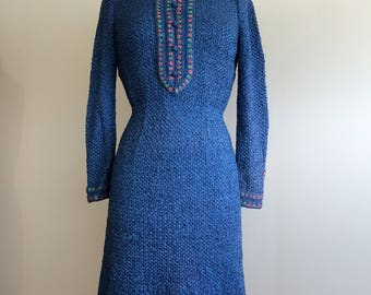 One of a Kind Vintage Hand Knit Blue Ribbon Woven Knit Dress