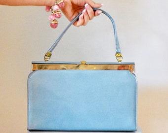 60s Handbag / 60s Vintage Handbag / Vintage Handbag / Top Handle Bag / Blue / Patent Leather / Vintage Purse / Vintage Pocketbook / Mad Men