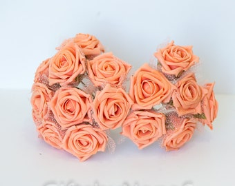 Silk flowers bulk etsy peach foam roses 6pc silk flowers flowers with tulle lace large pastel peach mightylinksfo