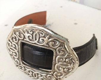 upcycled leather cuff bracelet, repurposed leather bracelet, upcycled bracelet, leather bracelet, upcycled buckle bracelet, vintage buckle