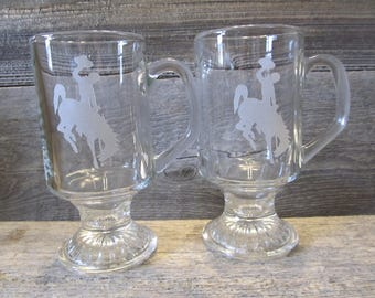 Wyoming Cowboys Pair of Etched Irish Coffee Mugs - Ready to Ship