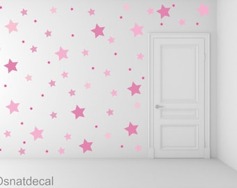 FREE SHIPPING Wall Decal Different Size of 150 Stars &3 Shades of Color Pink. Home Decor.Nursery Wall Sticker. Diy