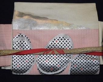 Vintage Japanese Nagoya Obi Belt and Obijime Set - Pink Abstraction
