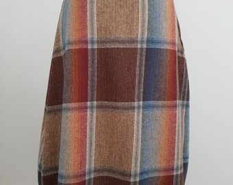 1950's Vintage Tartan Wool Midi Skirt