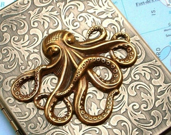 Cigarette Case Brass Octopus Case Steampunk Wallet Gothic Victorian Antiqued Gold Brass Octopus Vintage Inspired Metal Case Fits 100's