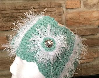 Teal and white headband, ladies headband, crochet aqua headband, womens ear warmer