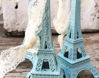 "Metal Eiffel Tower France Stand Ornament 4"" Aqua Blue ornament"