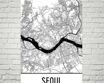 Seoul Map, Seoul Art, Seoul Print, Seoul Poster, Seoul Wall Art, Seoul Gift, Map of Seoul, South Korea Poster, Korean Decor, South Korea Art