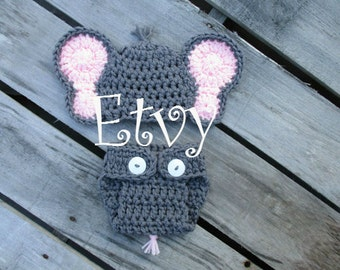 Baby Girl Elephant Outfit, Baby Girl Elephant Hat with Diaper Cover Set, Crochet Baby Elephant Set, Gray Elephant Outfit, Elephant Outfit