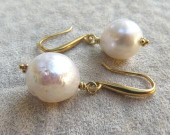 Gold Pearl Drop Earrings Wedding Baroque Pearls Kasumi White Dangle Genuine Freshwater Teardrop Large, Gold Vermeil or Sterling Silver
