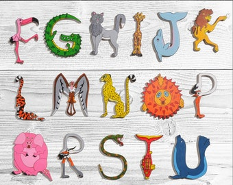 ABC alphabet letters multicolor animal shaped wooden
