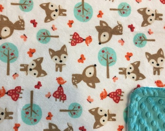 Minky Blanket Fox and Friends Print Minky with Teal Dimple Dot Minky Backing - Perfect Size a Toddler or Child 36 x 42  LAST ONE AVAILABLE