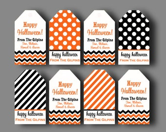 Etsy your place to buy and sell all things handmade printable personalized halloween hang tags one or all designs chevron polka dot treat tags negle Choice Image