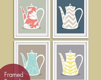 Modern Pattern Tea Pot Prints - Set of 4 - Art Prints (Featured in Assorted Colors) Customizable Colors