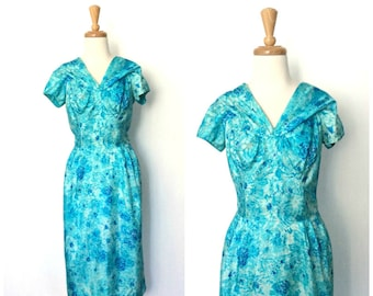 1960s  Dress - midi - pin up - wiggle dress - blue party dress - mad men - Medium