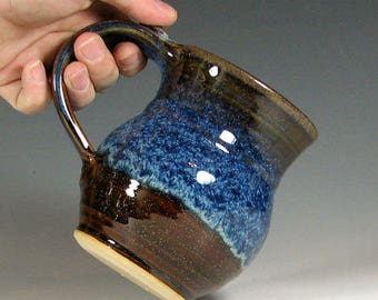 Made to Order 4-6 weeks  Mug coffee ceramic, glazed in brown and blue, tea cup stoneware, handmade by hughes pottery