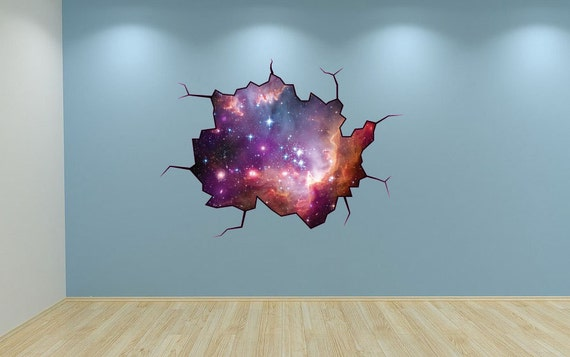 Galaxy wall decal weltraum sticker wandbild weltraum rissige for Galaxy wand