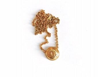 Vintage Small Gold Designer Button Necklace