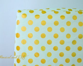Crib Sheet or Changing Pad Cover - Mint and Metallic Gold Polka Dots