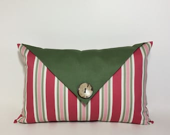 ON SALE. Blush Rose Green Lumbar pillow cover, olive green decor. button flap accent. rose pink and green decorative pillow. home decor
