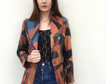Amazing 70s patchwork leather jacket/blazer