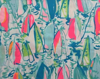 "multi beach and bae poplin cotton fabric square 17""x17"" ~ lilly summer 2017 ~ lilly pulitzer"