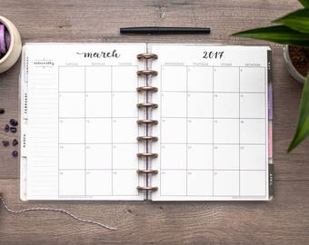 DATED MONTHLY CALENDAR for Happy Planner, Happy Planner Calendar Inserts, mambi Planner Insert, Create 365 Planner Refill, Disc Bound Insert