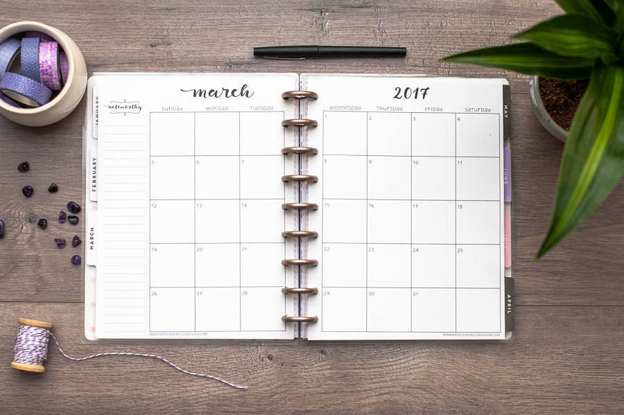 Happy Planner Calendar Refills : Dated monthly calendar for happy planner