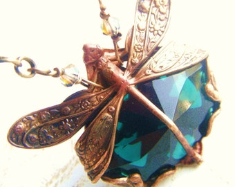 Bohemian Emerald Isle-Dragonfly Green Art Nouveau Antique Style Brass Filigree Necklace
