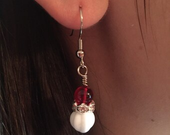 Glass Ball earrings with rhinestone accents