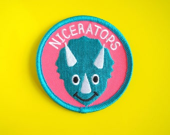 Dinosaur Patch, Cute Triceratops Patch, Iron on Patch, Pun Patch, Embroidered Patch, Niceratops, Funny Patch, Jacket Patch, Jurassic Park