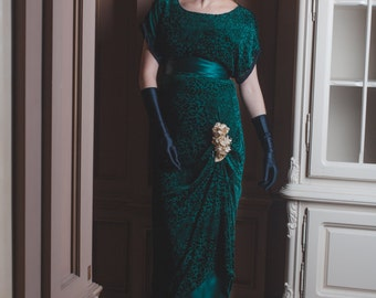 1910s Edwardian Style Green Velvet Dress, Titanic Era Panne Haloween Gown