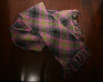 Pink Argyle Scarf with Fringe