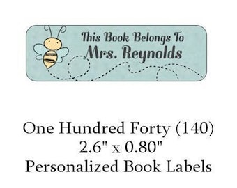 140 Personalized Light Blue Bee Book Labels