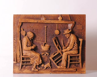 painting french vintage primitive wooden scilpte