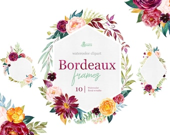 Bordeaux. Frames, watercolor floral clipart, burgundy, maroon, purple, bridal, wedding, flowers, peony, marsala, trend, bridal, navy, blush