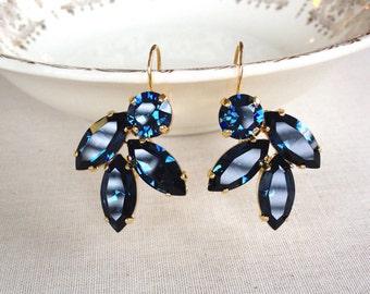 Swarovski navy blue rhinestone leaf earrings, gold, rhinestone earrings, leaf, leaves, drop earrings, indigo, blue, something blue, bridal