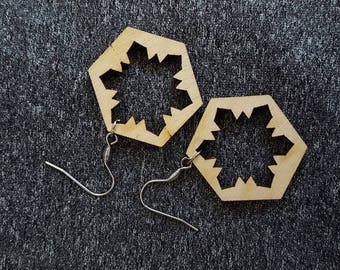 Wooden, Geometric Earrings, made of eco friendly material with snowflake pattern