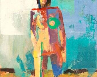 "Skylar"" Original acrylic painting on canvas 9"" x 12"""