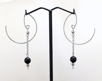 Modern minimalist earrings, black agate and surgical steel (GC13)