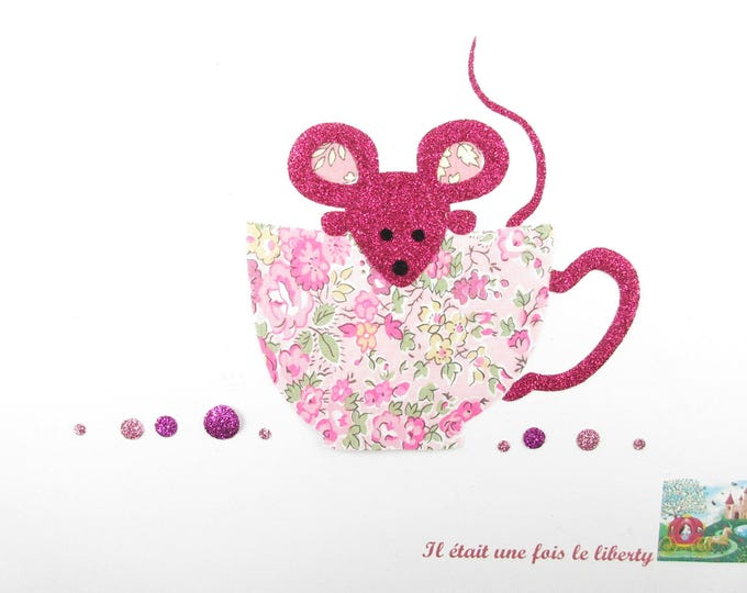 Applied fusing teapot mouse liberty Tatum fabrics pink glitter patch iron on fusible liberty tea mouse pattern