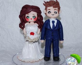 Wedding cake topper Clay/bridal cake topper Fimo/wedding cake topper/weddings/wedding figurines/cake decoration