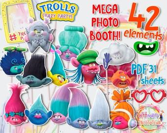 Troll photo booth Trolls Mask. Troll photo props Troll party supplies. Troll birthday photo frame. Troll decorations