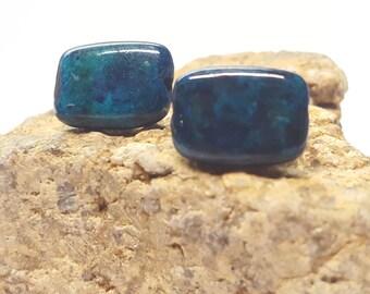 Chrysocolla Stud Earrings/ Chrysocolla Jewelry/ Natural Gemstone Stud Earring/ Chrysocolla Gemstone Stud Earrings/ Natural Gemstone Posts