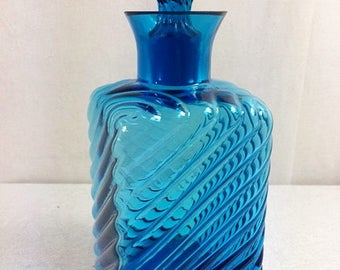Vintage Blue Decanter 8.5x3.3 Inches Retro Blue Glass Decanter Bottle