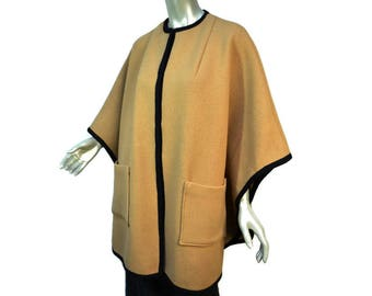 Vintage 1980s Tan and Black Wool Poncho   Cape Style   One Size Fits Most   Big Pockets