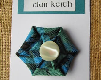 Clan Keith and Austin Tartan Brooch with Vintage button